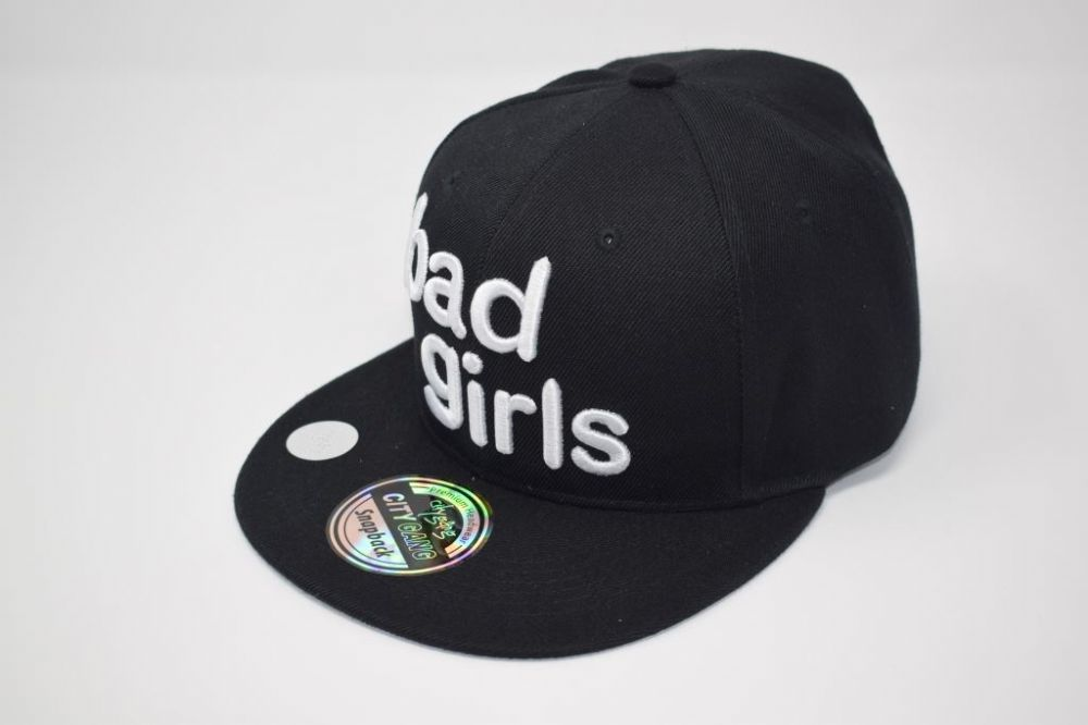 C4866, 'bad girls' Black Snapback caps one size fits all adjustable